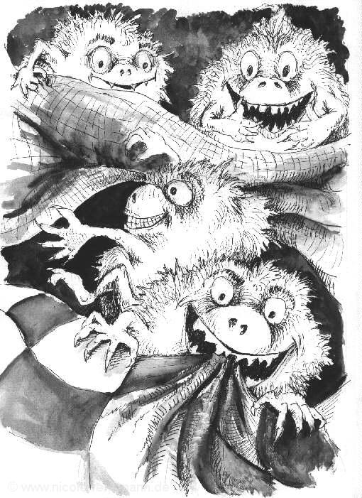"""""""Die Wollmonsterchen"""" aus """"Regenbogenläufer – 15 Geschichten für Groß und Klein"""" (Hardcover & eBook). Diese Illu von Thomas Hofmann stammt aus der Erstveröffentlichung """"Ariane, Luzifee & Co."""" (K&C Buchoase, 2001)"""
