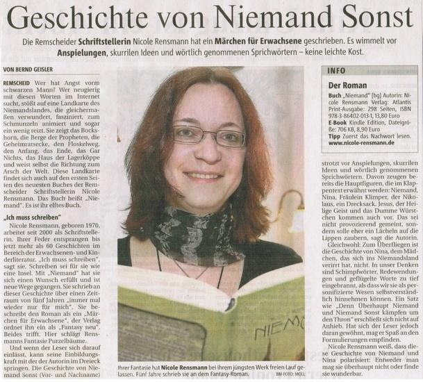 """""""Geschichte von Niemand Sonst"""", Text: Bernd Geisler, Foto: Jürgen Möll, Bergische Morgenpost 09.06.2012"""
