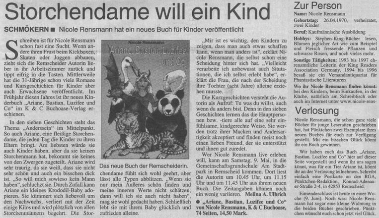 »Storchendame will ein Kind«Text: Melina UlbrichRemscheider General Anzeiger, Kinderseite »pünktchen«, 03.06.2001, Seite 2
