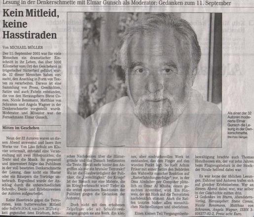 »Kein Mitleid, keine Hasstiraden«Text: Michael Möller Bergische Morgenpost, 02.09.2002