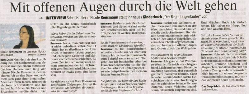 »Mit offenen Augen durch die Welt gehen« von Stefanie Bona. Bergische Morgenpost, Interview, 20.11.2009