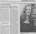 »Geschichten gewinnen Eigenleben«Text: Constanze KindelFoto: Körschgen Bergische Morgenpost, 21.07.2001