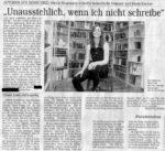 »Unausstehlich, wenn ich nicht schreibe« Text: Henning Röser Bergische Morgenpost, 28.10.2003