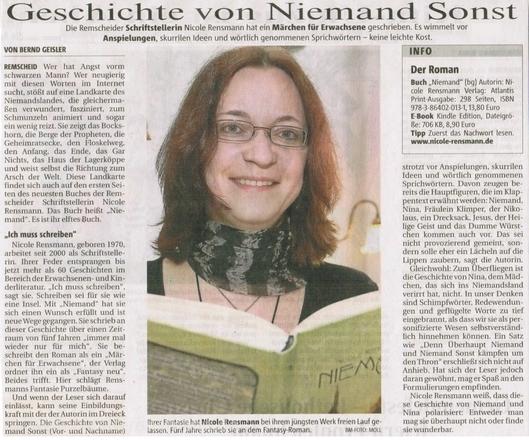 »Geschichte von Niemand Sonst«Bergische Morgenpost, 09.06.2012