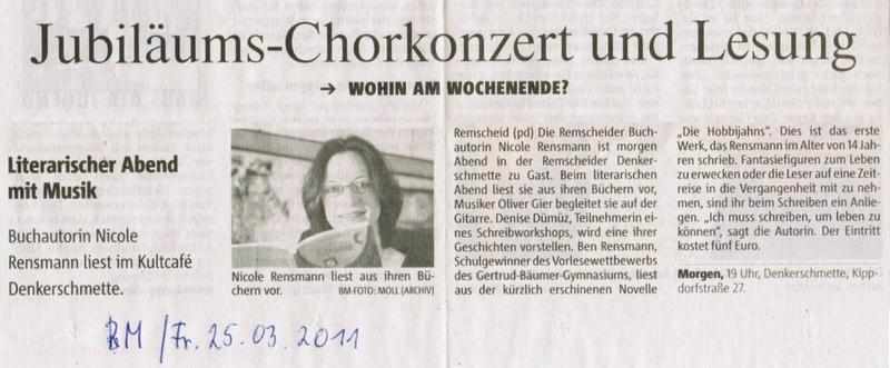 »Wohin am Wochenende?« Ankündigung der Lesung in der Remscheider Denkerschmette, Bergische Morgenpost, 25.03.2011