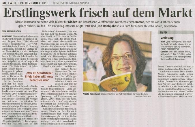 »Erstlingswerk frisch auf dem Markt« von Stefanie Bona Artikel zur Veröffentlichung von »Die Hobbijahns«, Bergische Morgenpost, 29.12.2010