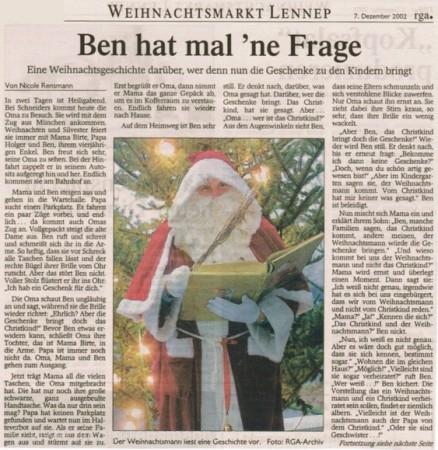 Ben hat mal 'ne Frage Weihnachtsgeschichte