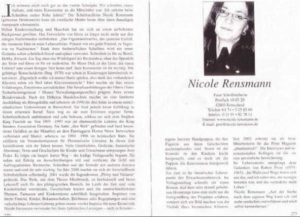 2-seitiges Porträt »Profile aus der Stadt Remscheid und Umgebung, Band I« von Angela Wagner ISBN 393274648 Verlag Elmar Zinke 2003