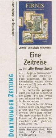 »Eine Zeitreise ins alte Remscheid« Dortmunder Zeitung 11.10.2007