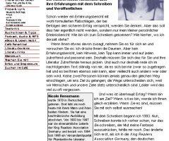 Frustration, Resignation und Hoffnung - Über meine Erfahrung mit dem Schreiben und Veröffentlichen, Literaturcafe.de, 18.12.2000