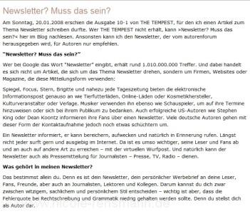 The Tempest Januar 2008, Ausgabe 10-1, Teil 1 Artikel »Newsletter – muss das sein?«
