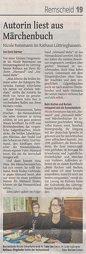 »Autorin liest aus Märchenbuch« Remscheider General Anzeiger 13.05.2017