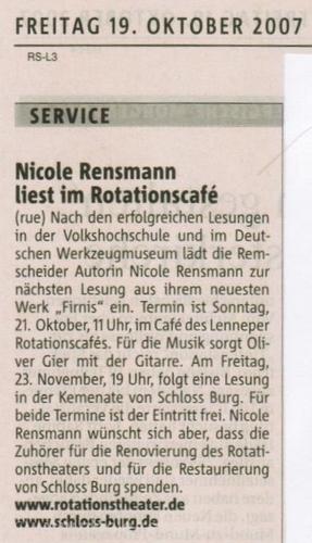 Ankündigung: »Nicole Rensmann liest ...« Berg. Morgenpost 19.10.2007
