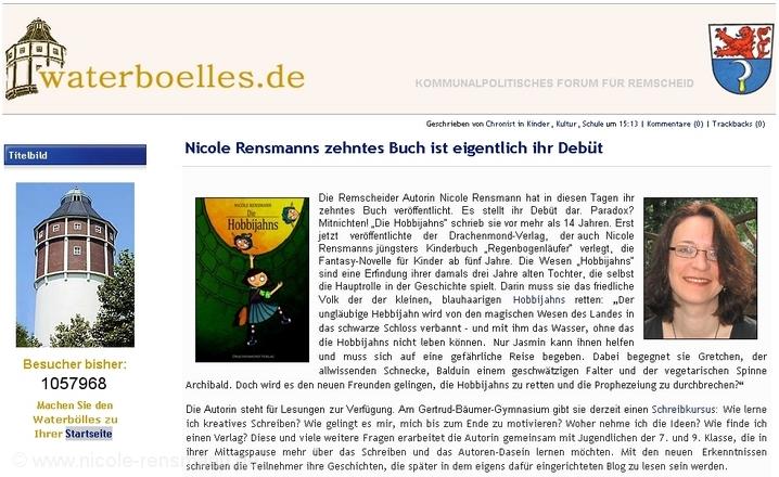 »Nicole Rensmanns zehntes Buch ist eigentlich ihr Debüt«Artikel im Waterbölles 29.10.2010