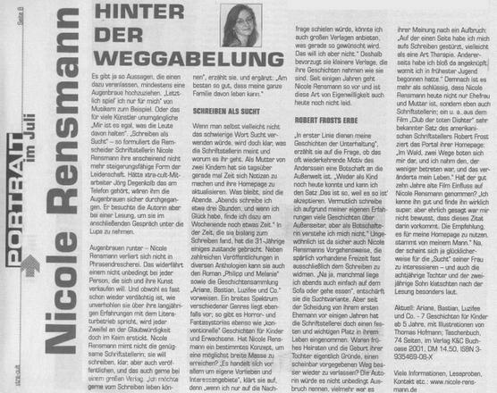 »Hinter der Weggabelung«Text: Jörg Degenkolb, rga-Monatsmagazin XTRA-Cult fürs Bergische, 26.06.2001
