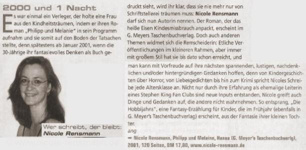 »2000 und 1 Nacht«, Kurzporträt von Angela Wagner Magazin coolibri, Januarausgabe, 21.12.2000