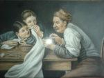 Der Einfädler .1883 (Pastell) - Eine wichtige Szene in »Firnis«