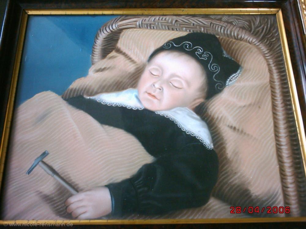 Das tote Kind im Weidenkorb (Pastell)