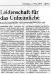 »Leidenschaft für das Unheimliche« Text: Sabine Interthal, Remscheider General Anzeiger, 02.03.2004
