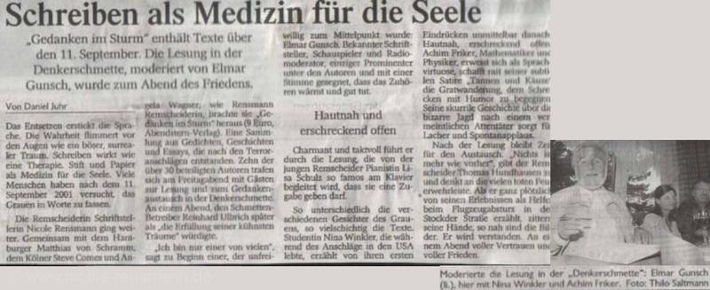 »Schreiben als Medizin für die Seele« von Daniel Juhr Remscheider General Anzeiger, 02.09.2002