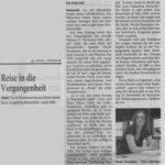 »Reise in die Vergangenheit«von Sonja Kuhl, Remscheider General Anzeiger, 03.09.2007 Bericht über die Lesung in der VHS, Remscheid am 01.09.2007