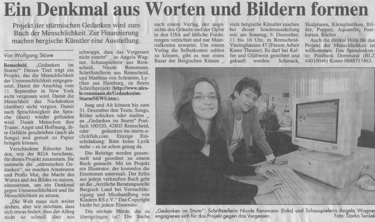 »Ein Denkmal aus Worten und Bildern«Text: Wolfgang StüweFoto: Darko TensekRemscheider General Anzeiger, 04.12.2001
