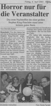 »Horror nur für den Veranstalter«Text: Daniela KebelFoto:Darko Tensek Remscheider General Anzeiger 06.04.2001 Artikel zum 1. EX-KRAG-Stammtisch in Remscheid