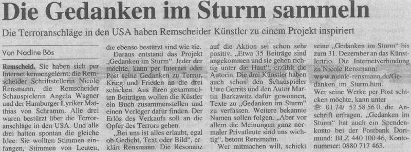 »Die Gedanken im Sturm sammeln«Text: Nadine BösRemscheider General Anzeiger, 13.10.2001