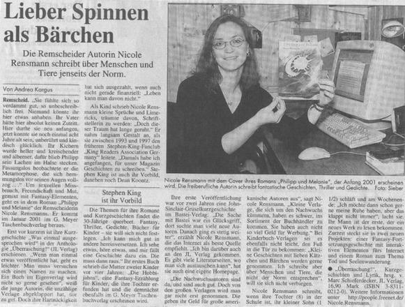 »Lieber Spinnen, als Bärchen«Text: Andrea KargusFoto: M.Sieber Remscheider General Anzeiger, 14.10.2000