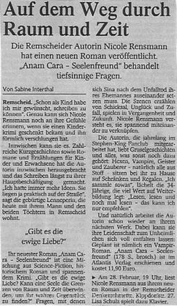 »Auf dem Weg durch Raum und Zeit«Text: Sabine Interthal Remscheider General Anzeiger, 21.02.2004