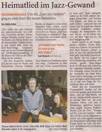»Heimatlied im Jazz-Gewand« Remscheider General Anzeiger 26.01.2008
