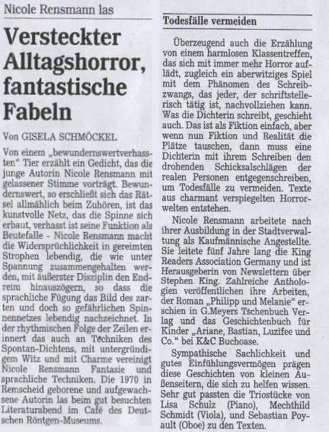 »Versteckter Alltagshorror, fantastische Fabeln« von Gisela Schmöckel Bergische Morgenpost zur Lesung vom 30.04.2002 im Röntgen-Museum, Remscheid-Lennep, 03.05.2002