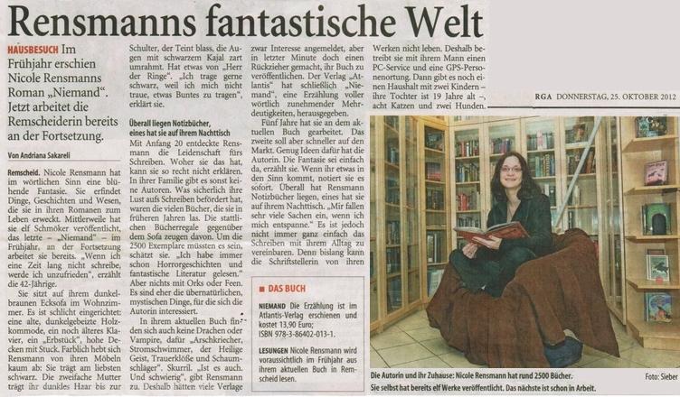 »Rensmanns fantastische Welt«Remscheider General Anzeiger, 25.10.2012