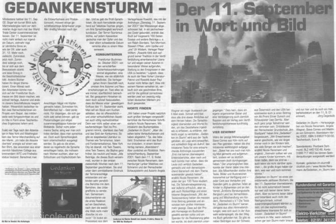 »Gedankensturm«Text: Jörg Degenkolb rga Xtra-Cult, Februar-Ausgabe 2002, 29.01.2002