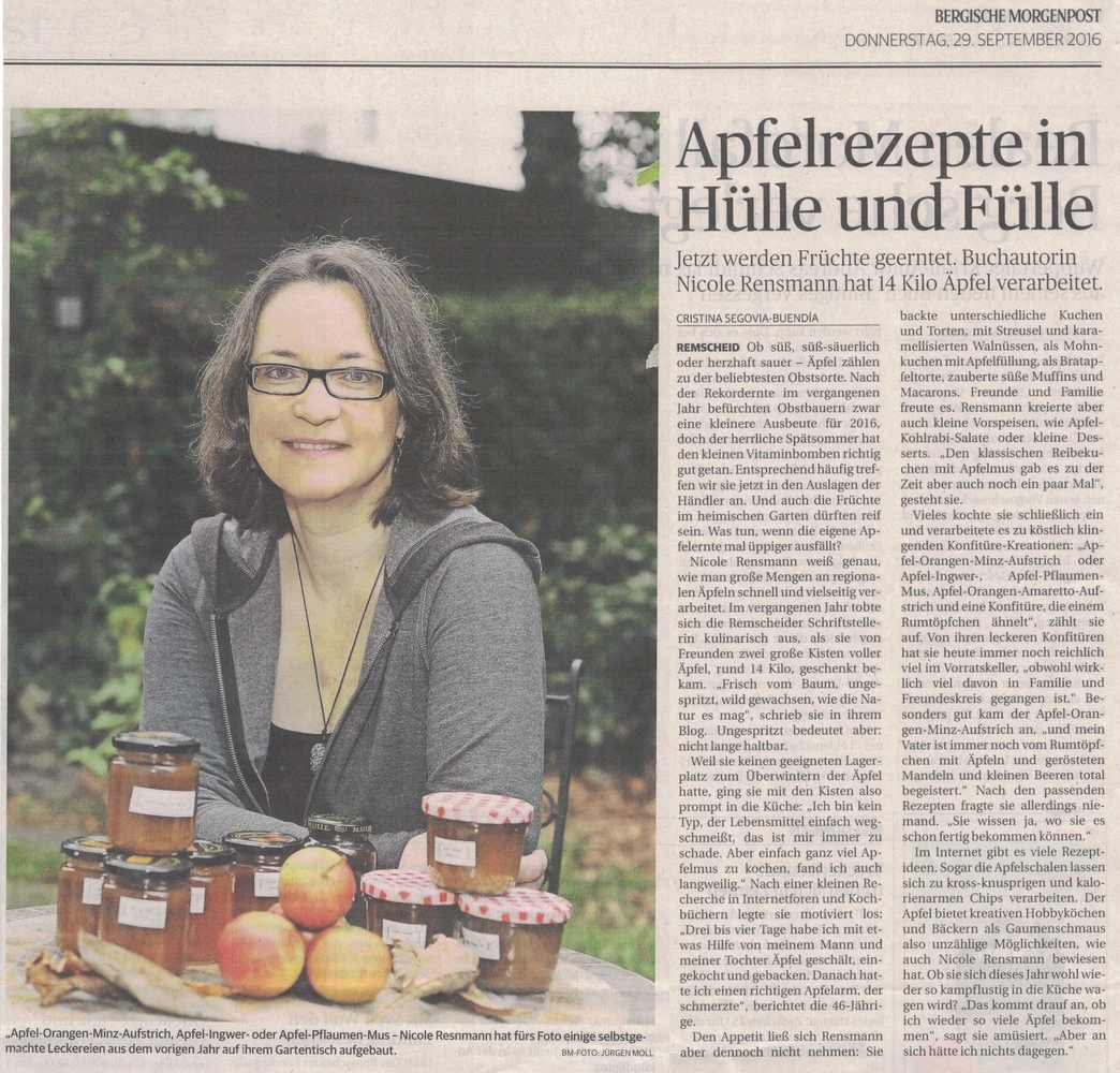 »Apfelrezepte in Hülle und Fülle« Bergische Morgenpost 29.09.2016