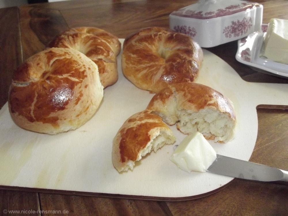Warm schmecken die Bagels phantastisch!