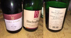 Im Restaurant getrunken: Moselriesling und einen Spätburgunder vom Kaiserstuhl