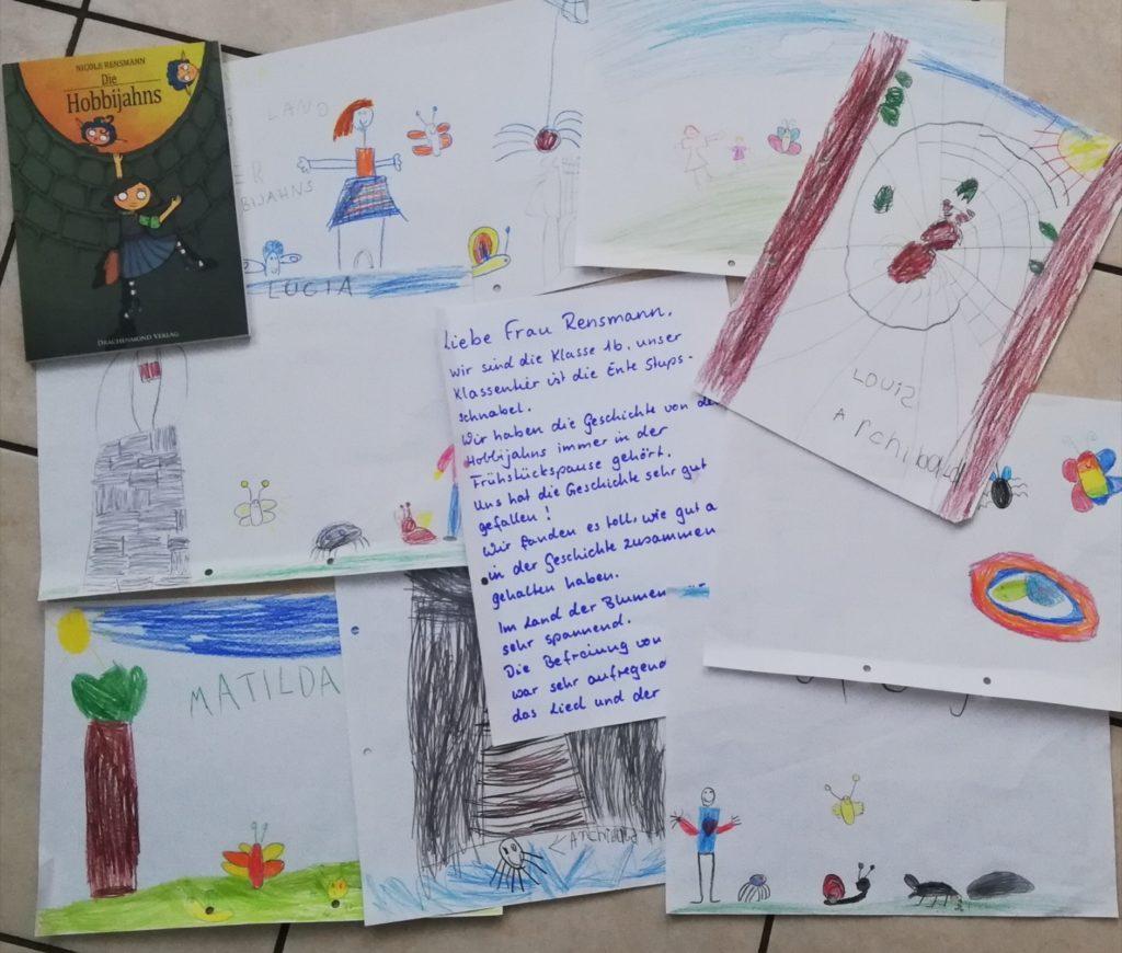 """Brief und Bilder, Klasse 1b zu """"Die Hobbijahns!"""
