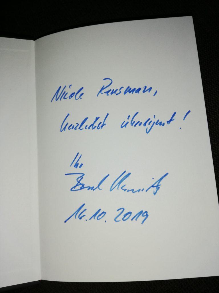 Widmung: Nicole Rensmann, herzlichst übereignet! Ihr Bernd Kiesewetter, 16.10.2019